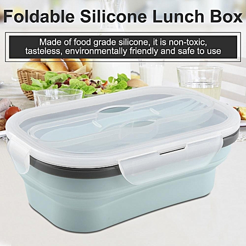 Food Grade Silicone Foldable Lunch Box Portable Rectangle Food Storage Container