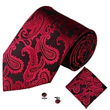 7d01de44658e Fohting 3PCS Classic Jacquard Men Party Tie Pocket Square Handkerchief Cuff  Link H -Red
