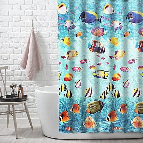 6PCS EVA Elegant Shower Curtain 12 Ring Hooks Waterproof Mildew Resistant Bathroom