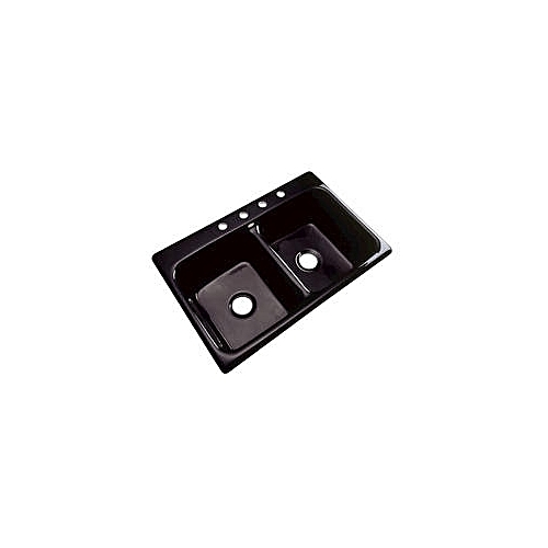 Acrylic Double Bowl Sink Without Tray - Black (Nationwide Delivery)
