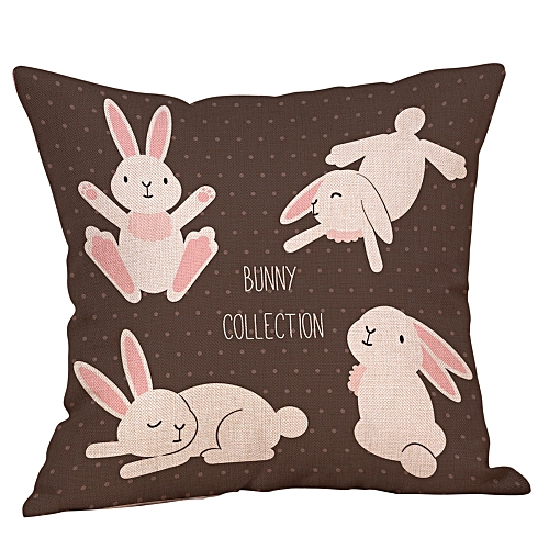 Fashion Easter Cotton Square Rabbit Throw Pillow Case Waist Cushion Cover Home Decor