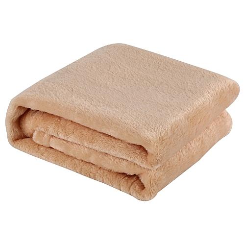 Solid Color Blanket Coral Fleece Comfortable Sleeping Home Bed Sofa Blanket Light Tan