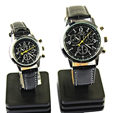 2 Pcs Couple Wristwatch Waterproof Round Dial Quartz Watches With PU Strap For Men And Women