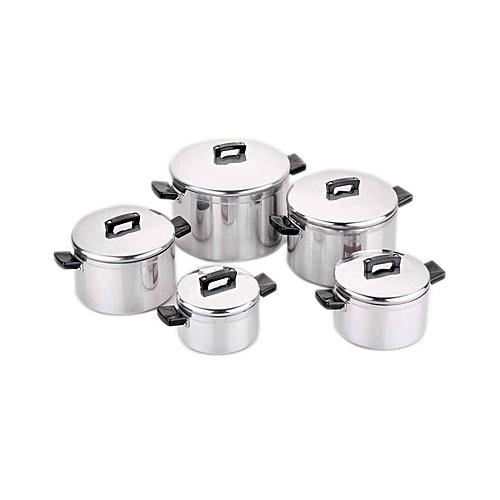 5 Piece Premium Aluminium Stock Pot Set