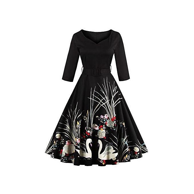 Buy Generac New Summer Women Dresses Printing Fashion V-neck Party ...