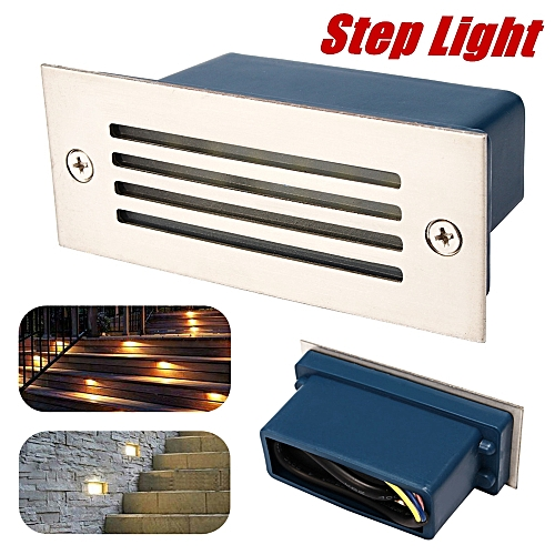 1w LED Recessed Brick Wall Light Step Lamp Stainless Steel Outdoor Garden -WHITE