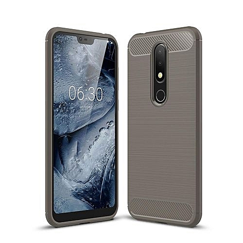 Nokia X6 Case, Ultra-thin Brushed Carbon Fiber Shockproof Anti-Fingerprints Slim Armor Soft TPU Phone Back Full Cover Case For Nokia 6X