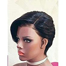 681ae9538f1e2 White Label Short Human Hair Wig Cap - Black