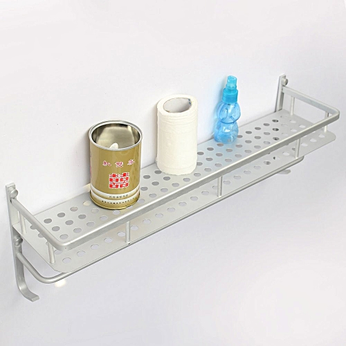 50cm Single Layer Alumimum Towel Bar Rack Holder Hanger Bathroom Storage Shelf Wall Mounted