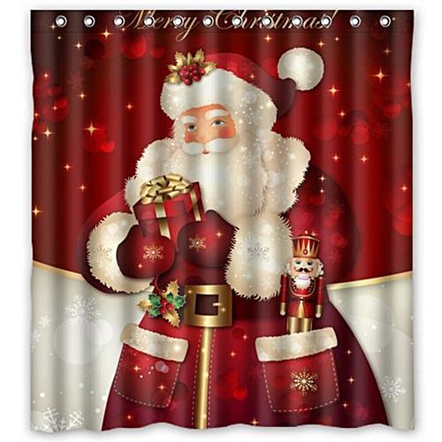 Dtrestocy Custom Merry Christmas Fabric Waterproof Bathroom Shower Curtain 66 X 72