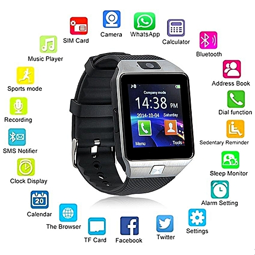 Hot Sale Wearable Devices DZ09 Smart Watch Support SIM TF Card Electronics Wrist Watch Connect Android Smartphone DZ11 Smart Watch Silver