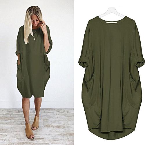Womens Pocket Loose Dress Ladies Crew Neck Casual Long Tops Dress Plus Size