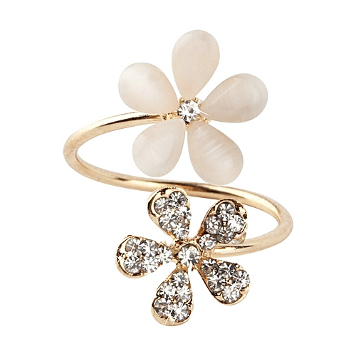 Allwin 1 Pc Crystal Double Daisy Flower Petals Ring Adjustable Rhinestone Ring