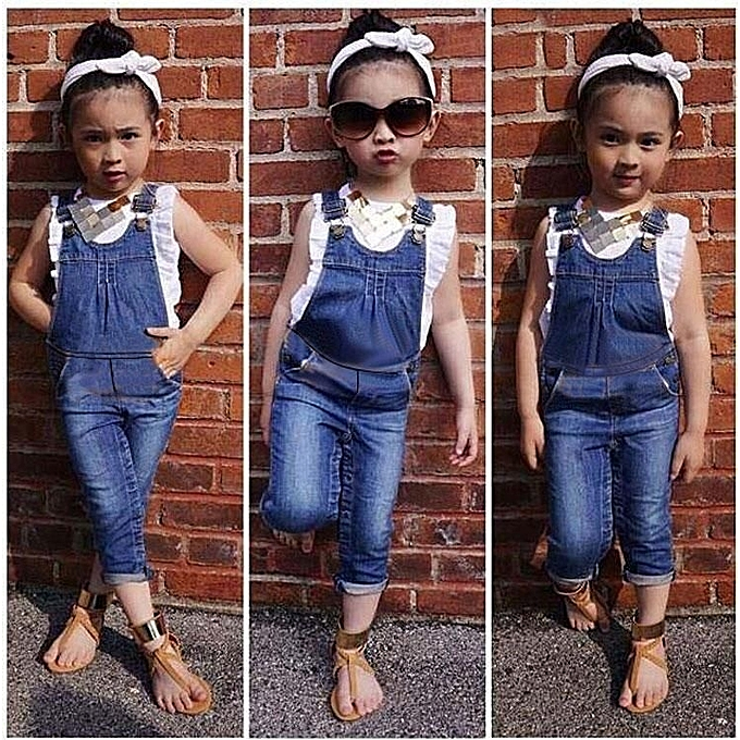 06aa1db5be2 2pcs Baby Girls Kids Summer Ruffle Tops+Pants Outfits Denim Casual Clothes  Sets (White