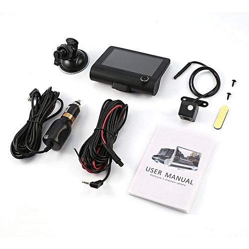 TA 4-Inch HD 1080P 3 Lens Car DVR Motion Detection & Parking Monitor Dash Cam Black