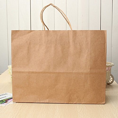 10pcs Kraft Brown Twisted Handle Shopping Gift Merchandise Paper Carrier Retail Bags Large Size