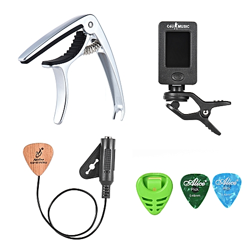 generic guitar accessories kit for acoustic guitar with capo clip on tuner pickup guitar pick. Black Bedroom Furniture Sets. Home Design Ideas