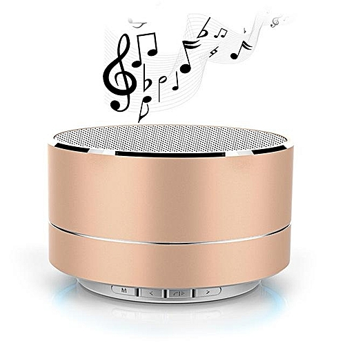 Generic A10 Speaker Potable Metal Wireless Bluetooth Speakers Mini Super Bass Subwoofer Stereo Music Player LED FM Bass TF SD Card(Gold)