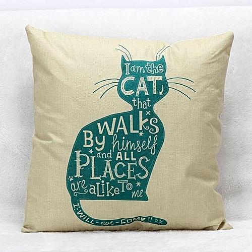 Houseworkhu Cute Lovely Cat Print Pillow Case Sofa Waist Throw Cushion Cover Home Decor -As Shown所示