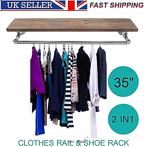 """35 """"Industrial Retro Silver And Iron Pipe Clothes Track Shoes Wooden Rack Wardrobe"""