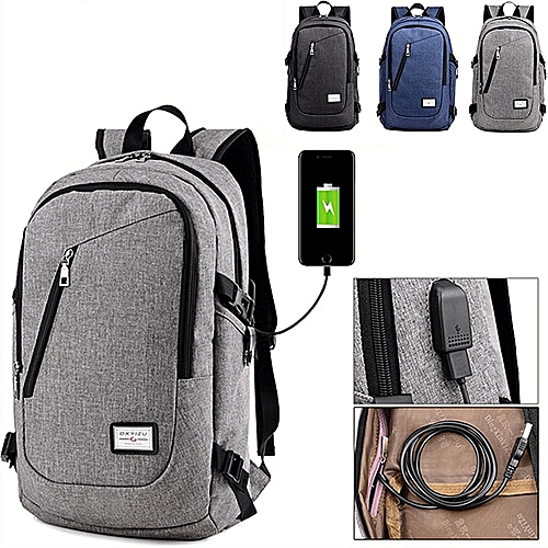 c695b8b19f4 BlueLife Men s Travel Shoulder Backpack USB Charger School Outdoor Bags  With Large Capacity - Grey