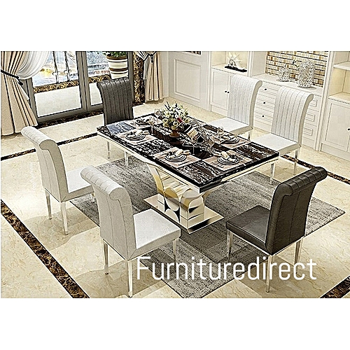 6 Seater Oxlyn Games Modern Marble Dining Set Furniture