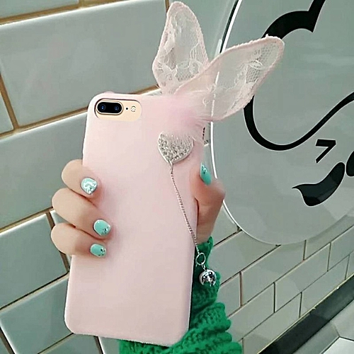IPhone 8 Plus And 7 Plus Cute 3D Lace Rabbit Ears Pattern Felt Plush Protective Back Cover Case (Pink)