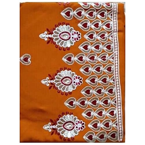 Indian Wear Fabric Plain And Pattern Chiffon Tangerine - Orange - 5 Yards