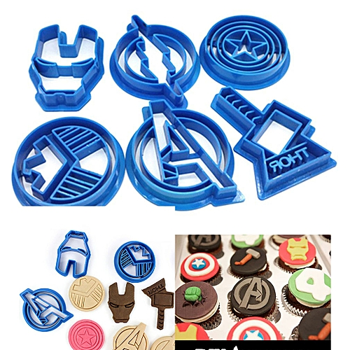 6 Pcs Cookie Moulds For Avengers For Captain America Shape DIY -blue