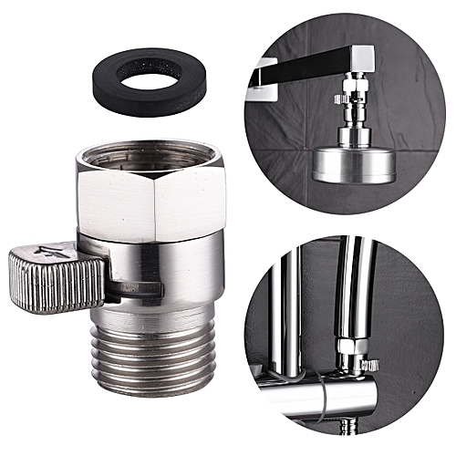 Shut Off Valve Brass Shower Head Flow Control Valve Plumbing Shut Off Valve G 1/2'' Shower Valve Brushed Nickel, AV016NA
