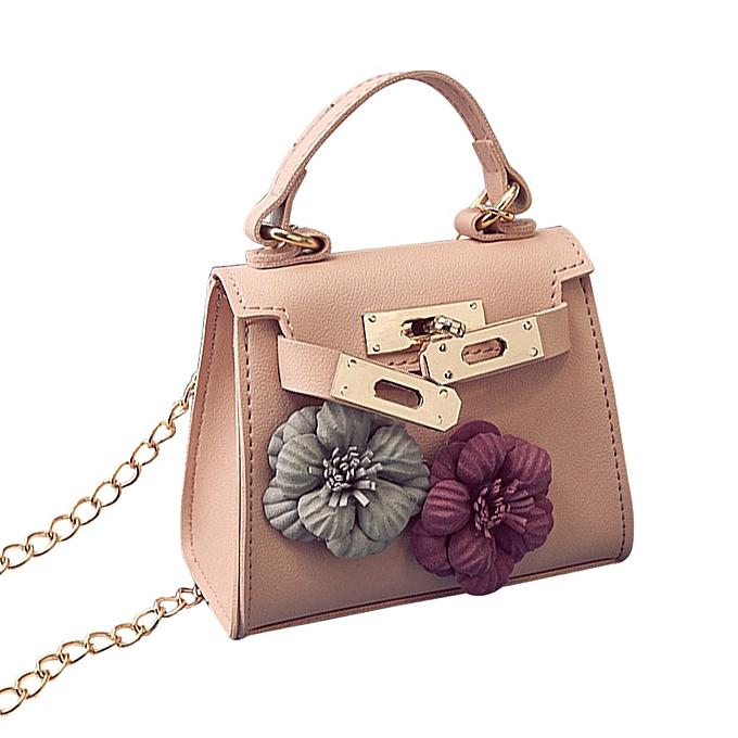Fashion Pu Leather Tote Handbag Flower Decoration Women Crossbody Shoulder Bag Pink