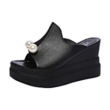 Jiahsyc Store Women  039 s Ladies Slippers Thick-Bottom Solid Pearl  Waterproof Wedge 92dde0c9c4d7