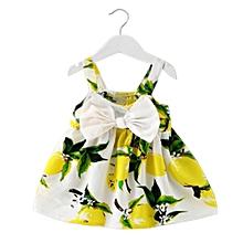Baby Girl Clothes Lemon Printed Infant Outfit Sleeveless Princess Gallus  Dress 1efc3b46e26d