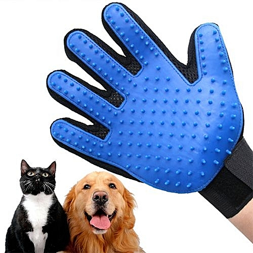 Pet Grooming Glove Shedding Brush For Right Hand - Blue