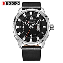 8245 New Men's Watch Strap Fashion Casual Business Complete Calendar Black Relogio Masculino Creative Surface(Silver Black) for sale  Nigeria