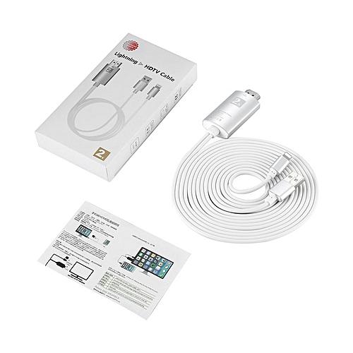 1080P HDTV TV Digital AV Adapter Cord Apple Lightning HDMI TV AV Cable Silver