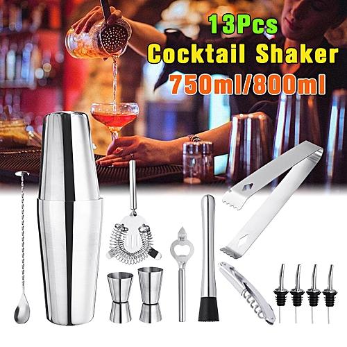 1Set/13Pcs Stainless Steel Cocktail Shaker Mixer Drink Bartender Martini Tool Bar Set
