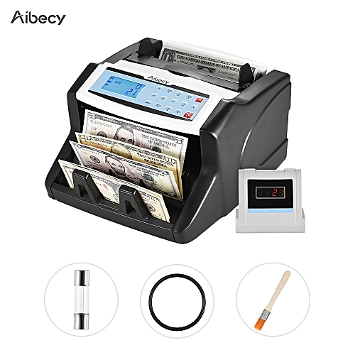 Aibecy Multi-currency Banknote Counter With UV/MT/MG/IR/DD Counterfeit Bill Detector Automatic Money Cash Counting Machine 15 Keys LCD Display External Screen For US Dollar Euro Pound AUD HKD Ruble