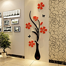 3D Acrylic Vase  amp  Plum Pattern Room TV Backdrop Entrance Home Wall  Sticker 9d57d90f55