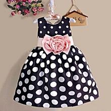 New Princess Baby Kids Girls Dress Party Polka Dot Flower Gown Fancy Dress(Navy Blue