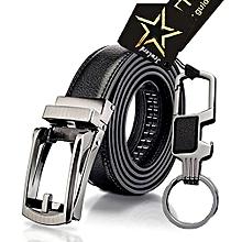 43650572f97 JewLord Men Automatic PU Leather Pinless Buckle Belt  amp  Belt-Clip  Keyholder