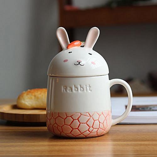 350ML Creative Cute Rabbit Ceramic Cup - Red