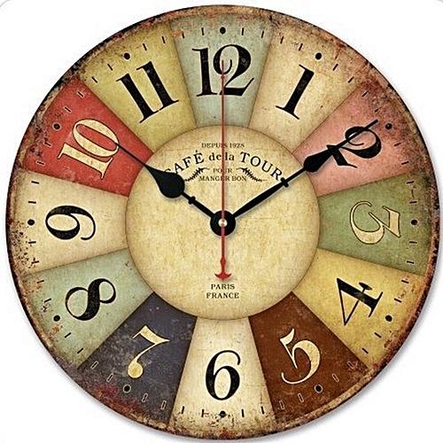 30CM Vintage European Style Wooden Wall Clock