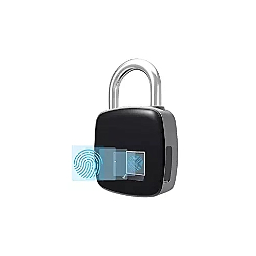 Smart Fingerprint Padlock Biometric, P3 Waterproof Lock With Finger Print Security Touch Keyless Lock USB Charge & 1 Years Standby Time For Gym Locker, Suitcase, Cabinet Box - Black