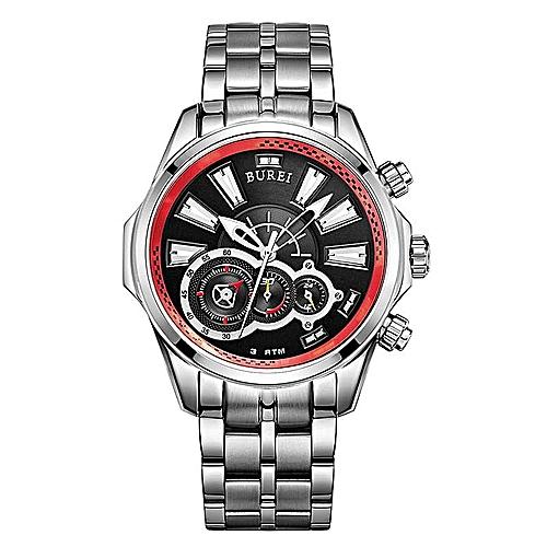 BUREI Men's Watch Sports Watch Treasure Shuttle Belt Waterproof Stainless Steel Watch Quartz Men's Watch (SilverRed) By HonTai
