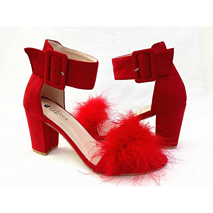 4581b8c6efb Alpaca Block Heel Sandal - Red With Fur