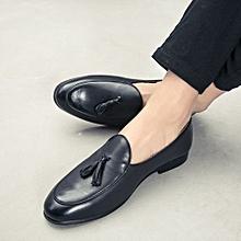 4744836cf8fd Men Shoes Tassel Genuine Leather Loafers Trends Moccasins For Male (Black)