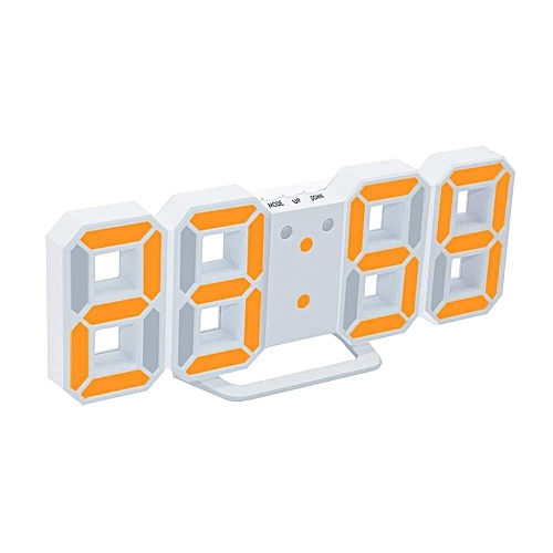LED Digital Alarm Clocks Big Digit 3D Wall Clock 8 Shape Electronic Table Watch Shelf Nixie Clock Horloge Mural On The Wall Home(yellow White)