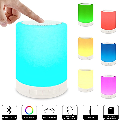 Bluetooth Speaker Smart Touch Control LED Color Changing Light Subwoofer Wireless Speaker- Night Light Dimmable Support TF & FM