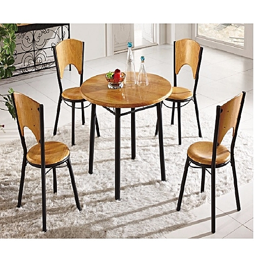 1+4 Seating Wooden And Metal Dinning